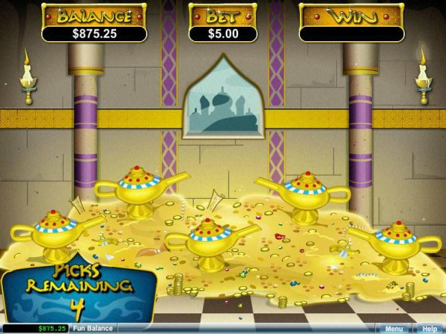 You will earn one pick for each Magic Lamp that triggered the bonus feature.