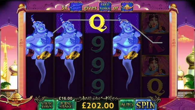 three staked wilds triggers a $202 jackpot