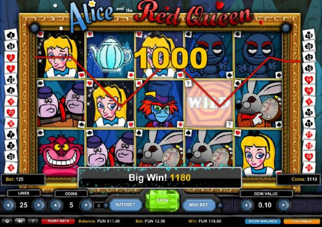 A 1000 coin line pay triggers an epic big win!