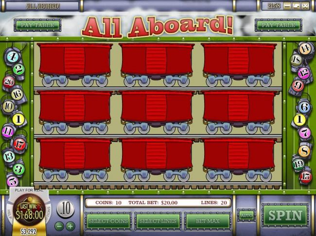 bonus feature game board - select boxcars to reveal a prize award