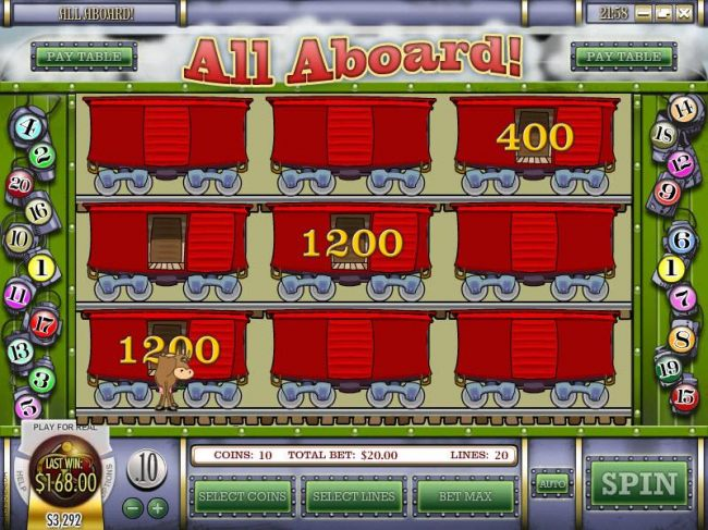 we were able to collect 2800 coins before selecting the empty boxcar