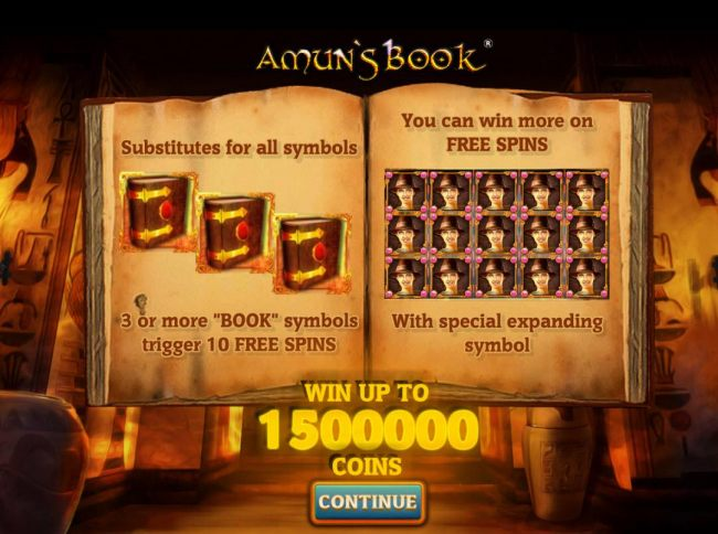 Three or more book symbols trigger 10 free spins. Win up to 1500000 coins!