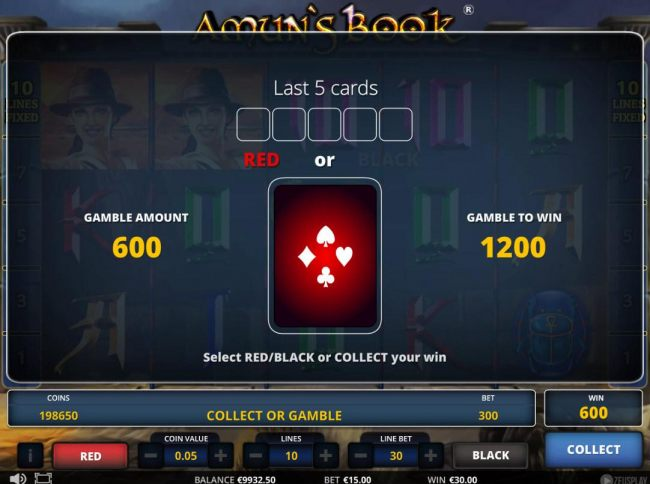 Gamble feature game board is optional and available after every winning spin. Select Red or Black or Collect your win.