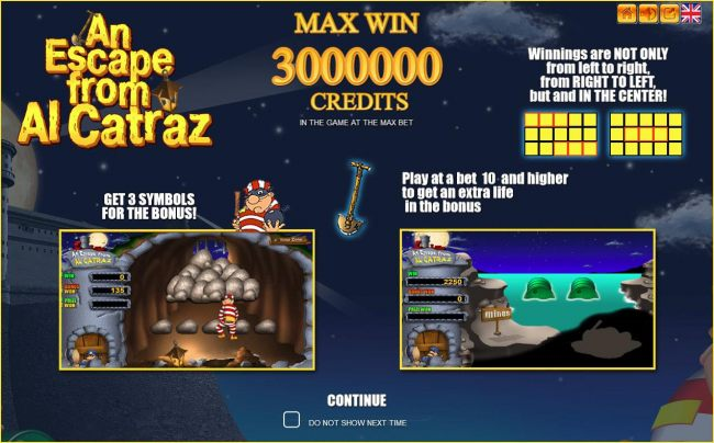 Game features include: pays left to right, right to left, center, bonus game and a max 3000000 credits