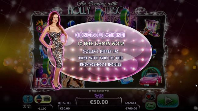 10 free spins awarded. Collect kisses to take with to the photoshoot bonus