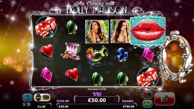 Collect the kisses during the free spins feature for additional rewards during the photoshoot bonus