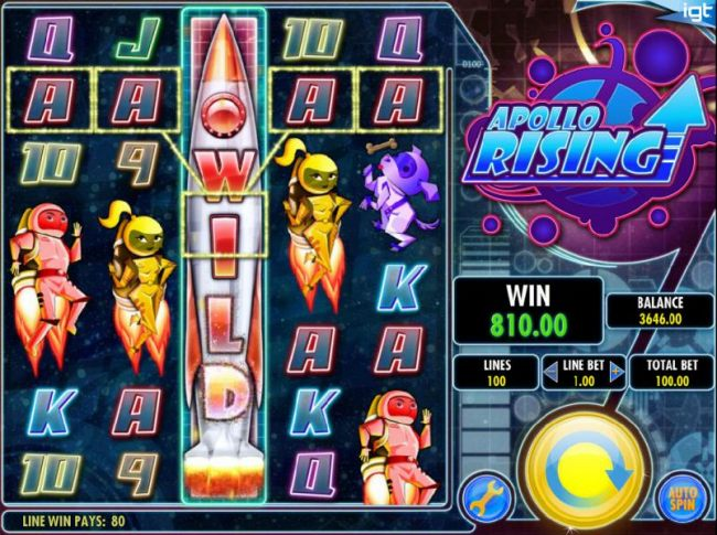 Rising Respin feature triggers an 810.00 big win.