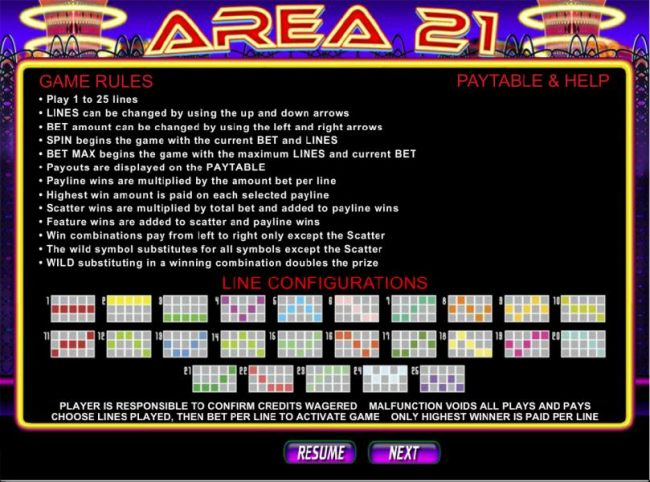 Games rules and 25 paylines