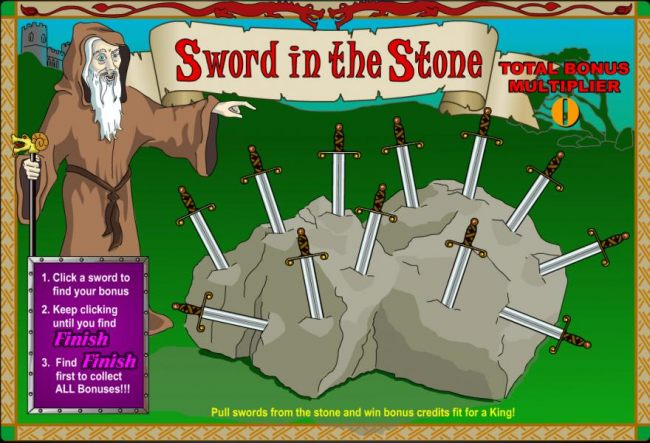 click a sword to find your bonus. keep clicking until you find finish