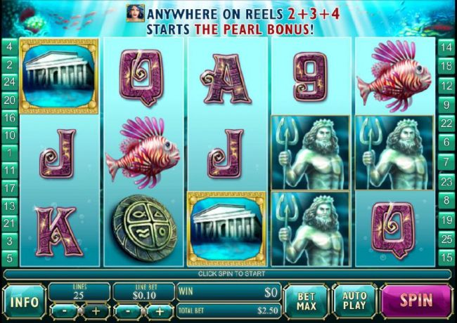main game board featuring five reels, 25 paylines and a $250,000 max payout