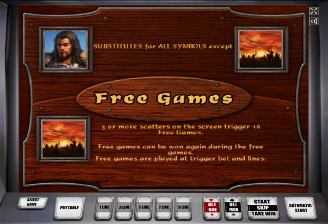 Thw wild symbols is represented by Attila and substitutes for all symbols except scatter. Three or more scatter symbols on the screen trigger 16 free games. Free games can be won again during the free games.
