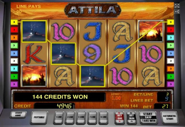 A three of a kind and a pair of scatter symbols leads to a 144 coin payout