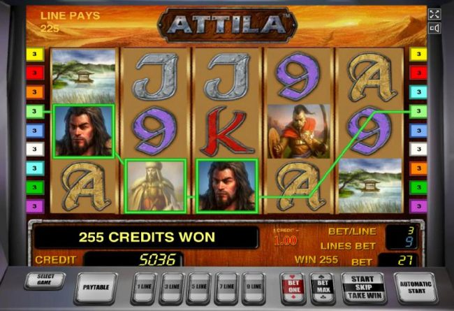 Wild symbols combine to form a three of a kind and a 255 coin big win.