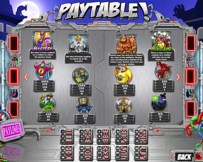 Slot game symbols paytable and Payline Diagrams 1-30.