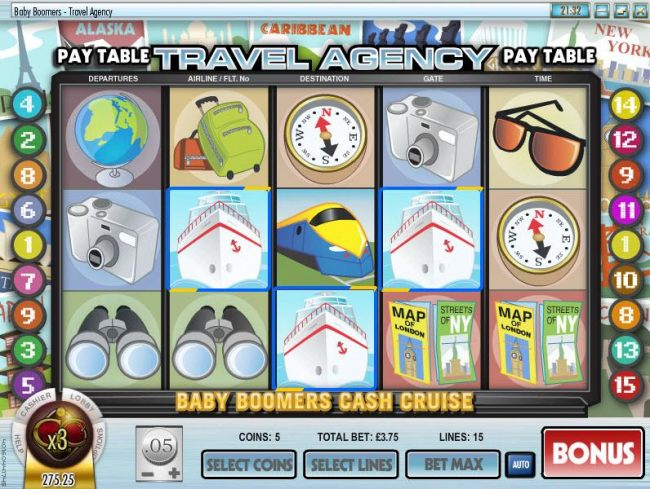 three cruise ship symbols triggers the baby boomers cash cruise bonus feature