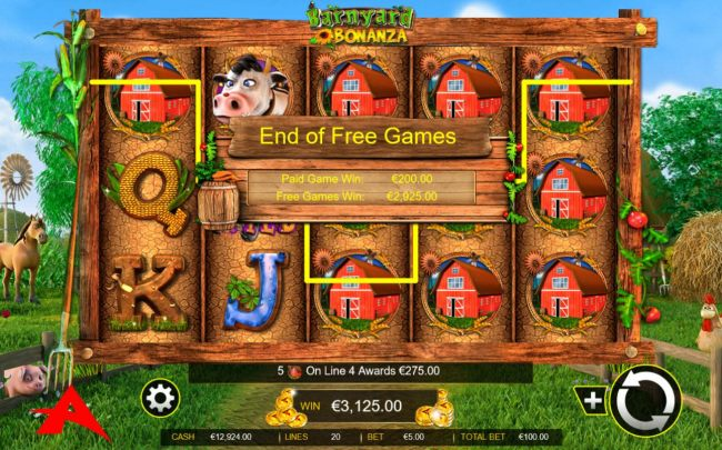 Total free games win 2,925.00