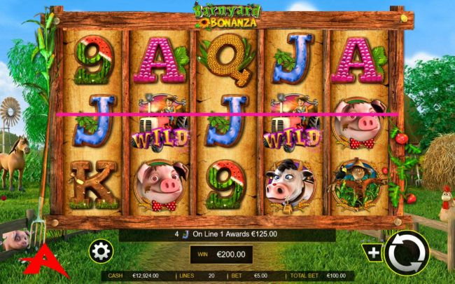 a 200.00 jackpot triggered by a pair of win lines