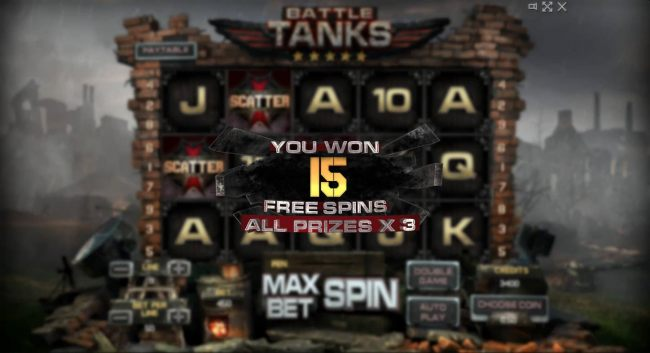 15 Free Spins awarded player with al wins tripled.