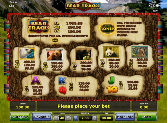 Slot game symbols paytable featuring bear inspired icons.