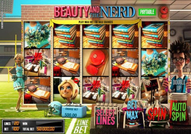 Main game board featuring five reels, twenty paylines and a double up feature