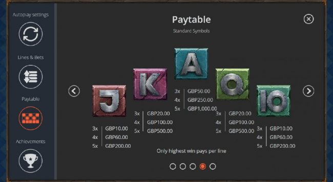 Low value game symbols paytable - inclued Ace, King, Queen, Jack and ten.