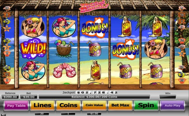 A beach themed main game board featuring five reels and 20 paylines with a $130,000 max payout