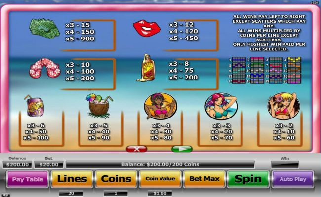 Slot game symbols paytable featureing beach themed icons.