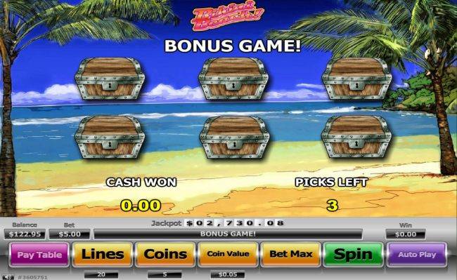 Bonus Game - Pick treasure chests to reveal a prize.