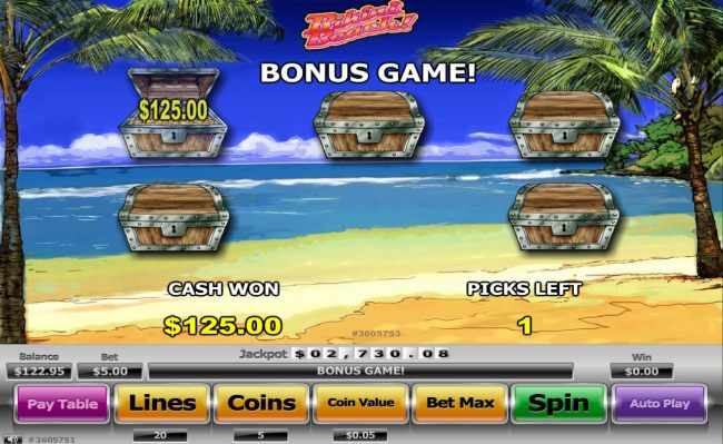 Bonus game pays a 125.00 prize award.