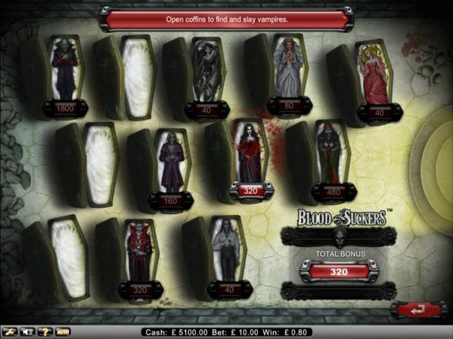 bonus game ends when empty coffin is selected.