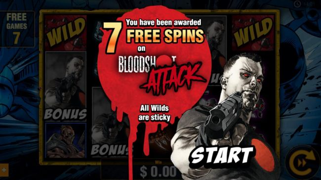 Player has been awarded 7 free spins with sticky wilds