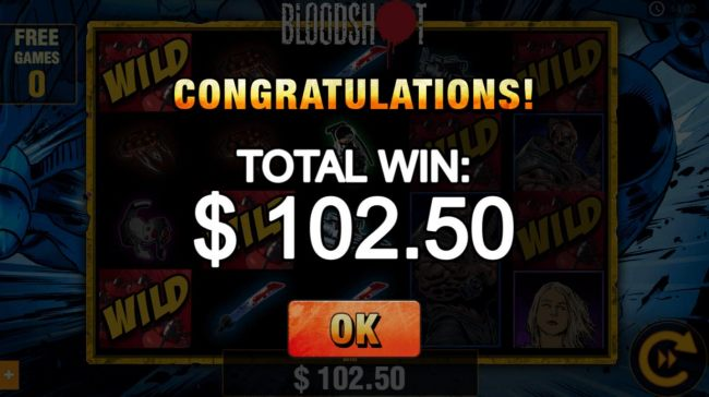Free spins feature pays out a 102.50 prize award.