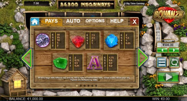 High value slot game symbols paytable featuring gemstone themed icons.