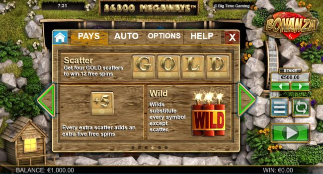 Scatter - Get four GOLD scatters to win 12 free spins. +5 Every extra scatter adds an extra five free spins. Wild substitutesevery symbol except scatter.