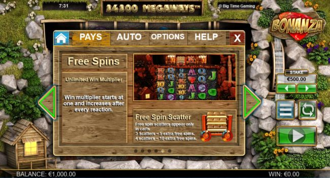 Free Spins - Unlimited Win Multiplier. Win multiplier starts at one and increases after every reaction. Free Spin Scatter - Free spins scatter only appear in carts