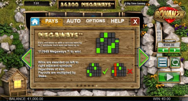 Megaways - Each symbol alone or with a cart can have up to 7 symbols. Each spin can have up to 117649 megaways to win.