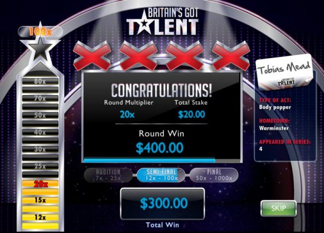 The Semi-Final round of the Live Show Bonus pays $400