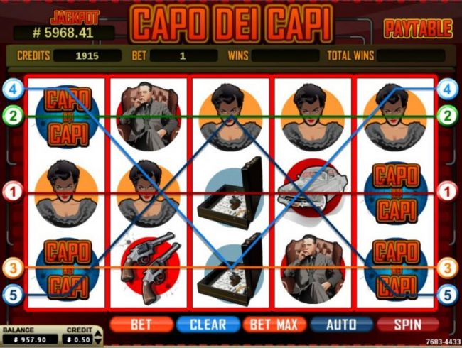 Main game board featuring five reels and 5 paylines with a $4,000 max payout