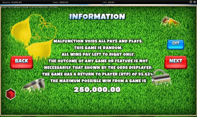General Game Rules - The theoretical average return to player (RTP) is 95.63%.