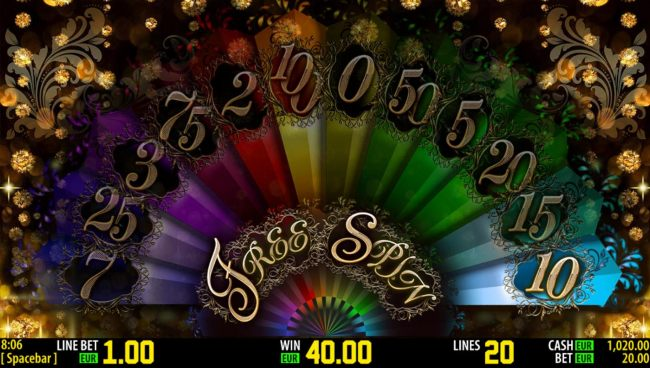 A random selection will be awarded player. Here 10 free spins are awarded.