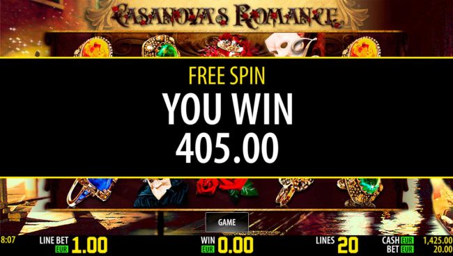 Free Spins total payout 405.00