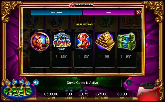 Slot game symbols base paytable.