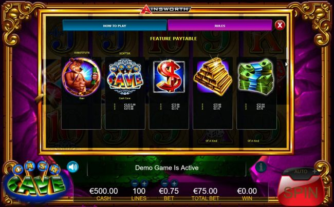 High value slot game symbols feature paytable.