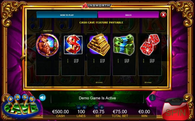 Cash Cave High Value Feature Paytable