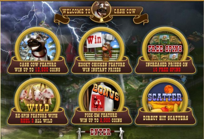 Game features include: Win up to 12500 coins, Win Instant Prizes, Free Spins, Wilds, Bonus and Scatters.