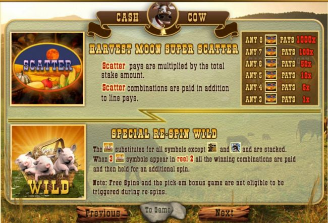 Harvest Moon Super Scatter and Special Re-Spin Wild
