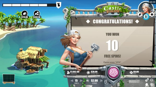 10 free spins awarded