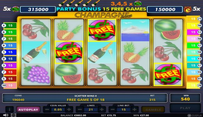 Free Spins Game Board - Getting 3 or more scatter symbols during the free spins feature will re-trigger the feature adding an additional 15 free games.
