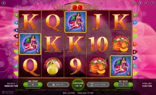 Landing three or more Cherry Girl scatter symbols anywhere on the reels activates the free spins feature.