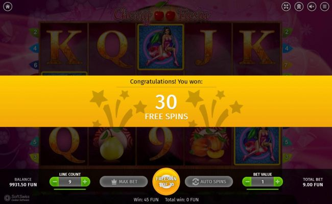 Player is awarded 30 free spins for landing 3 scatter symbols on the reels.
